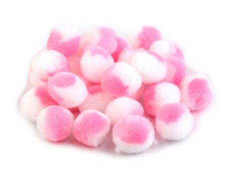 pomponiki pluszowe 20mm biało-różowe