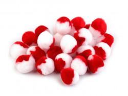 pomponiki pluszowe 20mm biało-czerwone