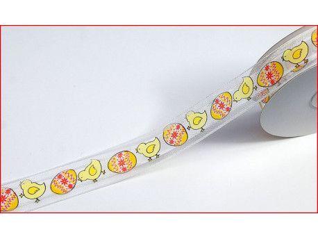 wstążka szyfonowa z drutem kurczaki żółta