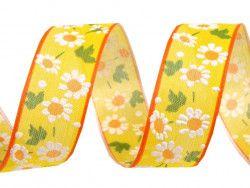 wstążka z drutem kwiaty żółta