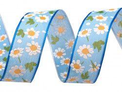 wstążka z drutem kwiaty niebieska
