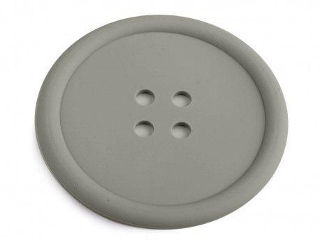 guzik silikonowy-podkładka, ozdoba-szary
