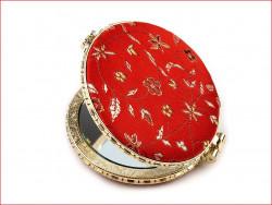 lusterko kieszonkowe z haftem czerwone