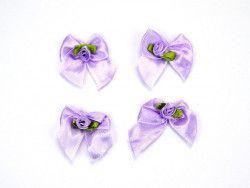 Kokardki satynowe z różyczką fioletowe