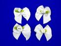 Kokardki satynowe z różyczką białe