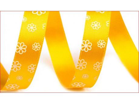 wstążka atłasowa kwiaty żółta