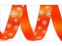 wstążka atłasowa kwiaty pomarańczowa