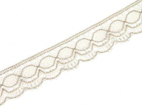 koronka bawełniana 55 mm biało-beżowa
