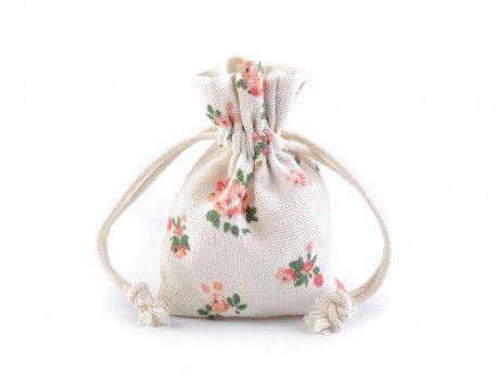 woreczek bawełniany kwiatki mały