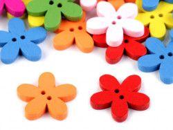 Guzik drewniany kwiat - 3 sztuki