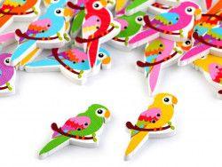 Guzik drewniany papuga - 3 sztuki
