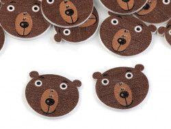 Guzik drewniany niedźwiedź- 3 sztuki