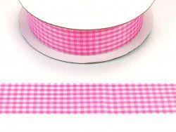 wstążka ozdobna 25mm kratka różowa