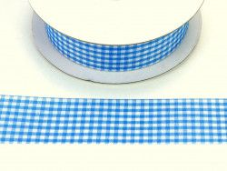 wstążka ozdobna 25mm kratka błękitna