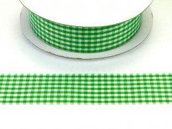 wstążka ozdobna 25mm kratka zielona