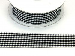 wstążka ozdobna 25mm kratka czarna
