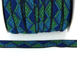 guma ozdobna 20 mm trójkąty niebieskie