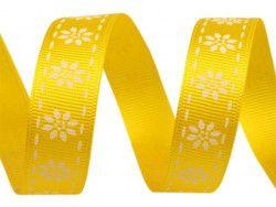 wstążka rypsowa stokrotki żółta