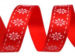 wstążka rypsowa stokrotki czerwona