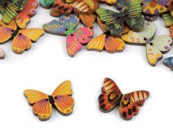 Guzik drewniany motyl- 3 sztuki