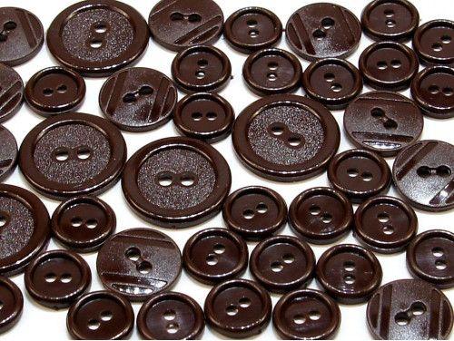 guziki mix 3 wielkości 40szt. ciemny brąz