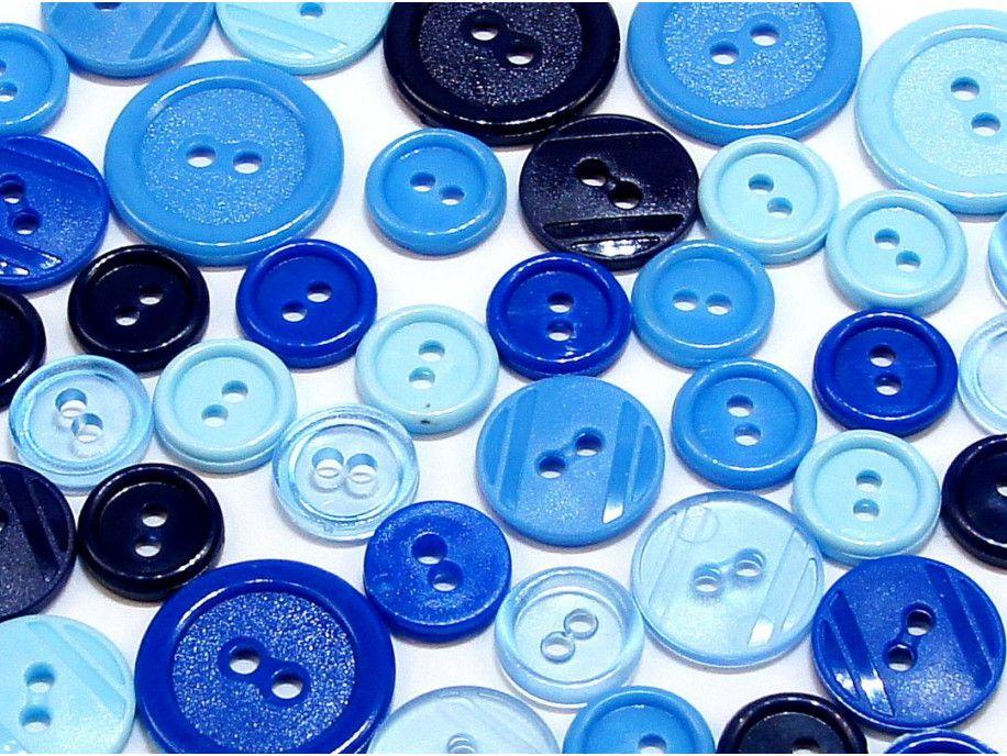 guziki mix 3 wielkości 40szt. mix niebieskich
