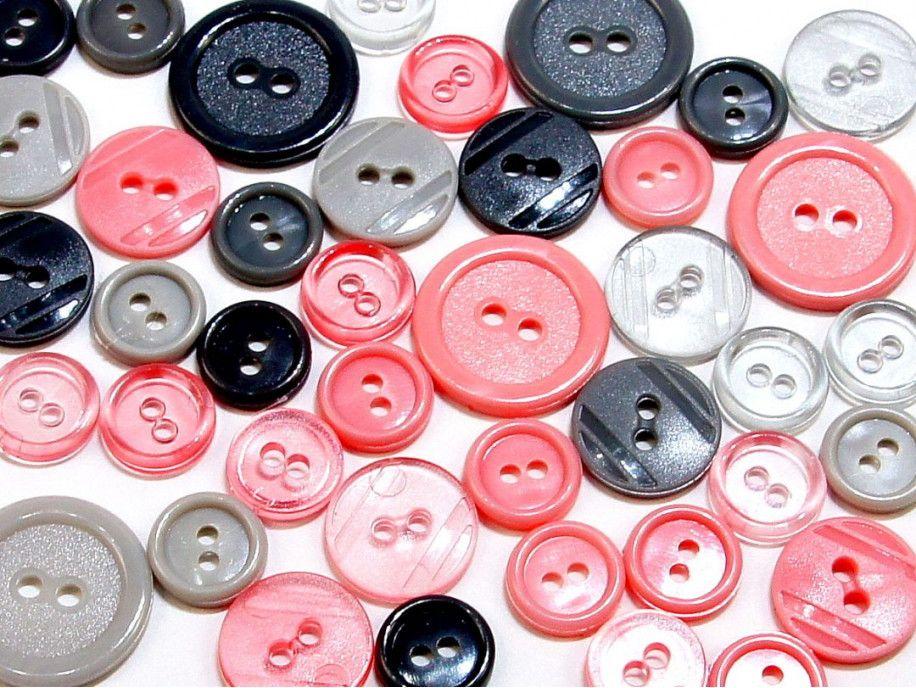 guziki mix 3 wielkości 40szt. mix szaro-różowy