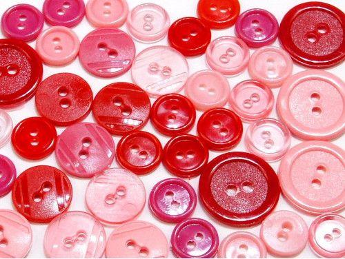 guziki mix 3 wielkości 40szt. róż i czerwień