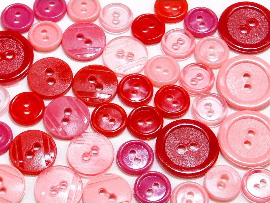 guziki mix 3 wielkości 40szt. mix różu i czerwieni