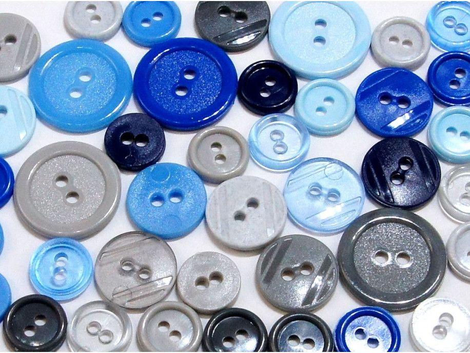 guziki mix 3 wielkości 40szt. mix szaro-niebieski