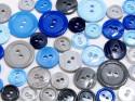 guziki mix 3 wielkości 40szt. szaro-niebieski