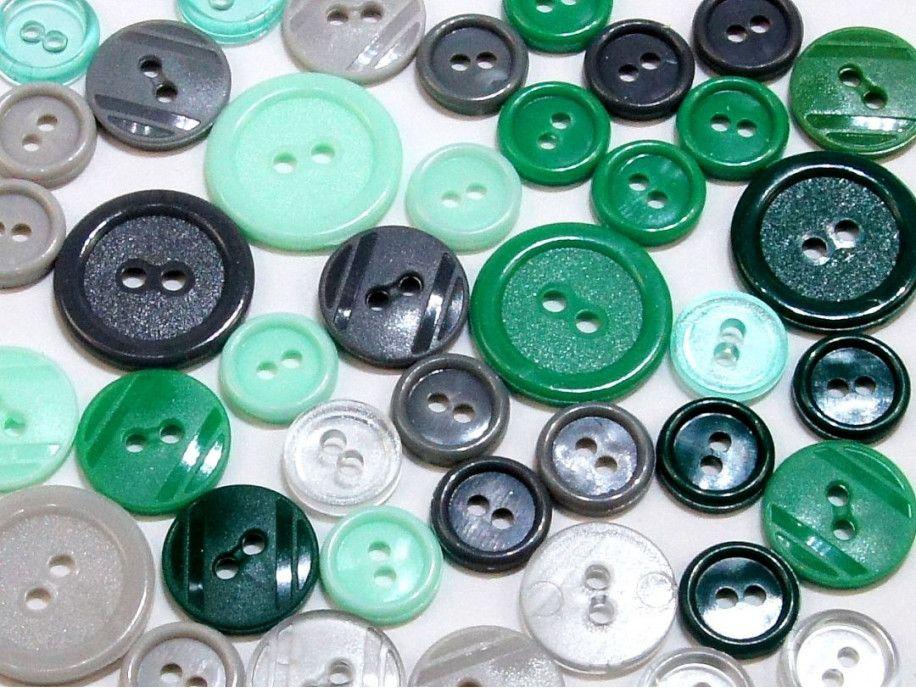 guziki mix 3 wielkości 40szt. szaro-zielony