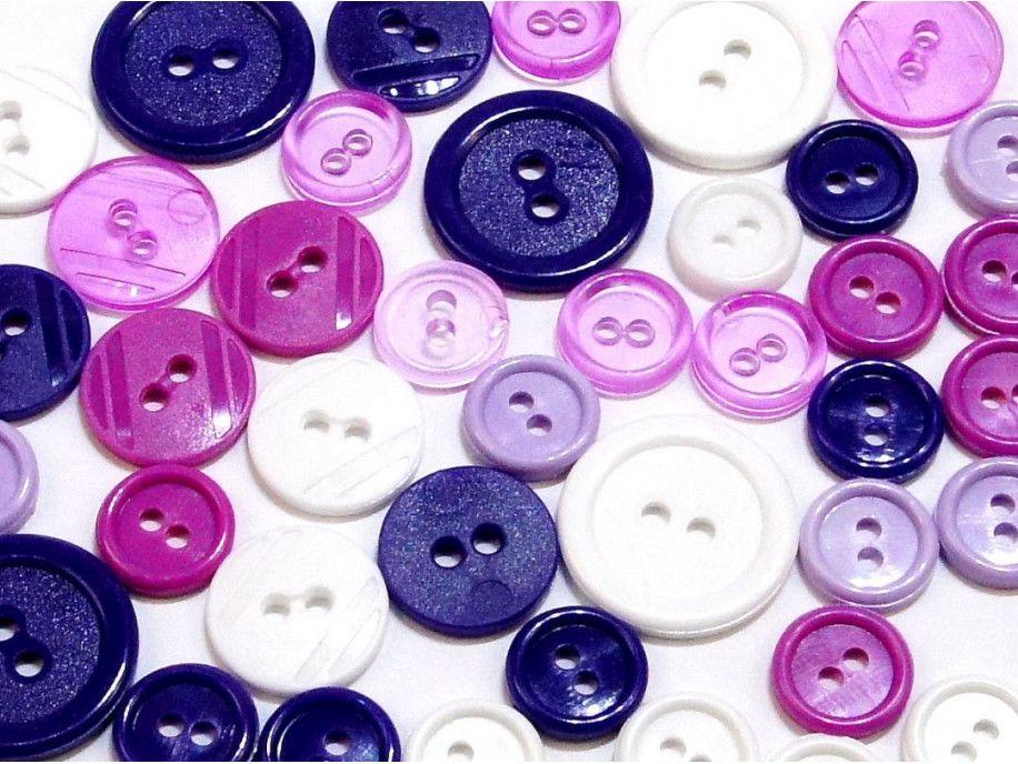 guziki mix 3 wielkości 40szt. biało-fioletowy