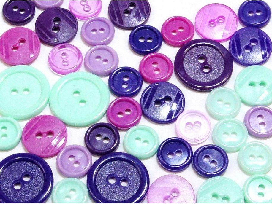 guziki mix 3 wielkości 40szt. fioletowo-miętowy