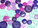 guziki mix 3 wielkości 40szt. fiolet-mięta