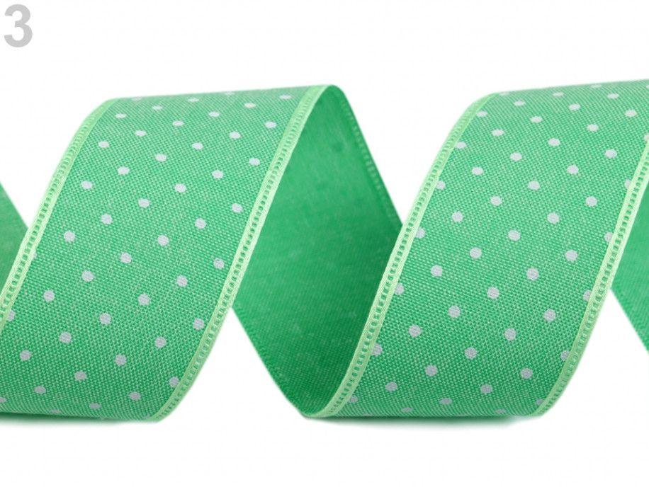 """wstążka bawełniana w kropki """"jeans"""" zielona"""