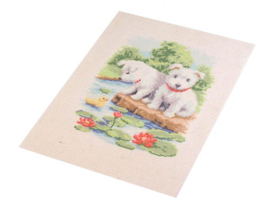 zestaw do haftu białe pieski
