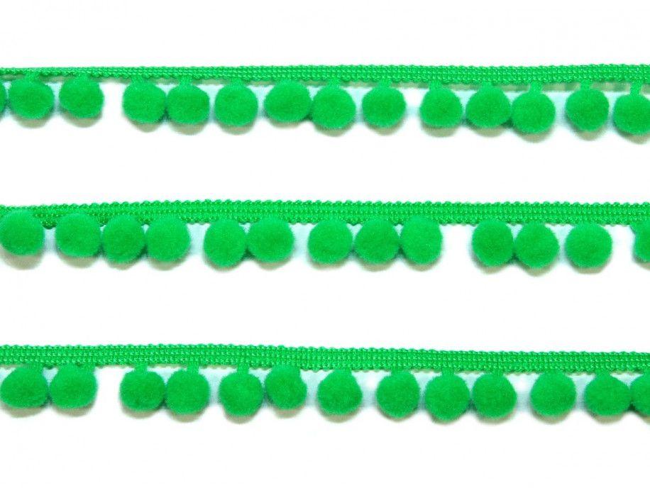pomponiki na taśmie zielone