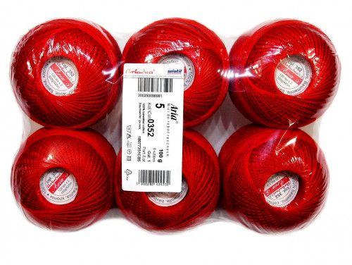 Kordonek ARIA 5 kol. 352 czerwony paczka 6szt.