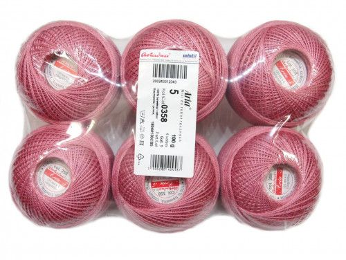 Kordonek ARIA 5 kol. 358 różowy paczka 6szt.