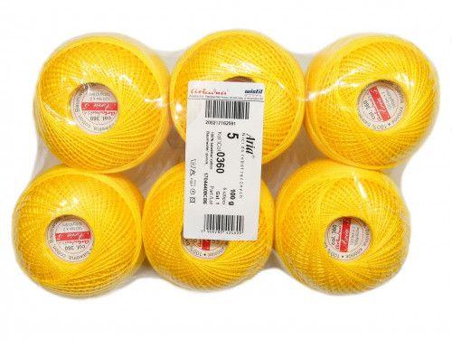Kordonek ARIA 5 kol. 0360 żółty paczka 6szt.