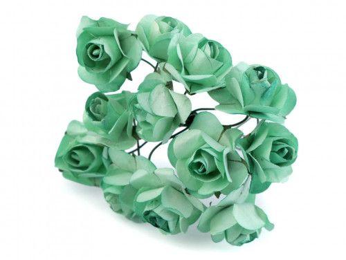 sztuczne róże miętowe 12 szt.