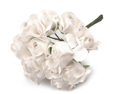 sztuczne róże białe 12 szt.