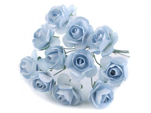 sztuczne róże niebieskie 12 szt.