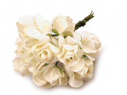 sztuczne róże ecru 12 szt.