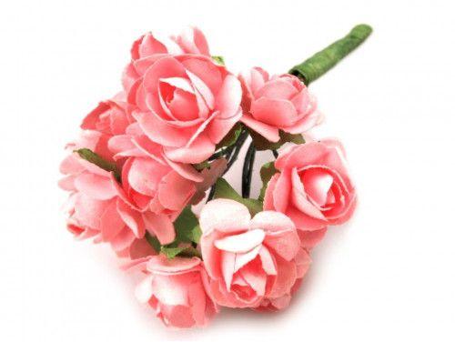 sztuczne róże różowe 12 szt.