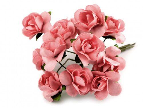 sztuczne róże koralowe 12 szt.