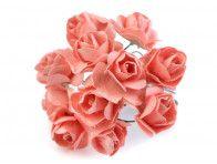 sztuczne róże łososiowe 12 szt.