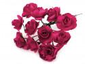 sztuczne róże amarantowe 12 szt.