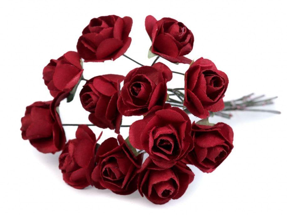 sztuczne róże bordowe 12 szt.